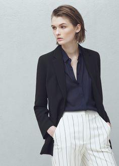 Crepe blazer - Jackets for Women | MANGO USA