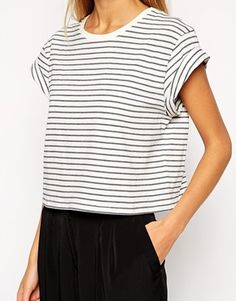 Enlarge ASOS Cropped Boyfriend T-Shirt with Roll Sleeve in Stripe