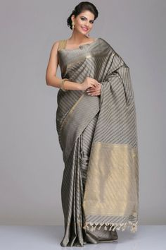 Grey Kanjivaram Pure Silk Saree With Striped Pattern And Real Zari.... Its so different http://www.fancyclone.net
