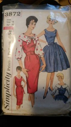 1950s Simplicity Vintage Sewing Pattern Rockabilly Dress Full Skirt Bust 36 !!