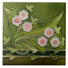 Shop Repro Antique Tubelined Pink Floral Green Border Ceramic Tile created by TessieRay. Azulejos Art Nouveau, Art Nouveau Pattern, Victorian Tiles, Art Nouveau Tiles, Artistic Tile, Vintage Tile, Art Nouveau Jewelry, Decorative Tile, Tile Art