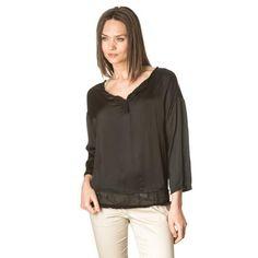 Black V neck silk blouse