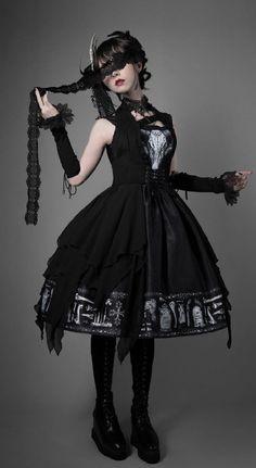 Foxtrot -The Tomb of Gabriel- Vintage Gothic Lolita JSK + Corset Set (shipping date: in late July),Lolita Dresses, Harajuku Mode, Harajuku Fashion, Kawaii Fashion, Gothic Lolita Fashion, Gothic Outfits, Fashion Fashion, Gothic Lolita Dress, Lolita Mode, Lolita Style