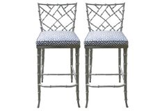 Silver Bamboo-Style Barstools, Pair
