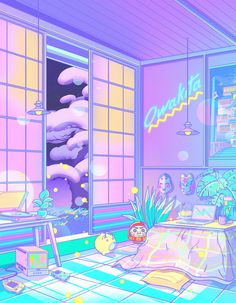 vaporwave background Dream Attack Mini Art Print by Elora Pautrat - Without Stand - x Anime Scenery Wallpaper, Aesthetic Pastel Wallpaper, Aesthetic Wallpapers, Kawaii Wallpaper, Tumblr Wallpaper, Animes Wallpapers, Cute Wallpapers, Aesthetic Art, Aesthetic Anime