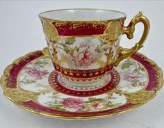 L S & S Limoges Demitasse Vintage Coffee Tea Cup and Saucer Set. Tea Cup Set, My Cup Of Tea, Cup And Saucer Set, Tea Cup Saucer, Vintage Cups, Vintage Coffee, Vintage Tea, Porcelain Mugs, Painted Porcelain