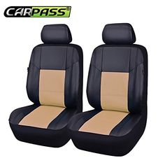 CAR PASS 6Piece Universal Skyline Airbag Compatible PU Leather Car Seat Cover with 5mm Composite Sponge Inside Black with Beiege *** Click image for more details. (This is an affiliate link) #LeatherCarSeatCovers