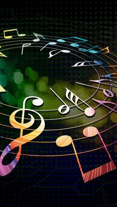 Colorful Musical Notes iPhone 5s wallpaper! <3