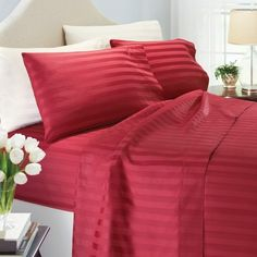 Give your bedroom a lush new look with BHG 400 thread count damask stripe sheets in Rich Plum. View all our styles and colors in store now