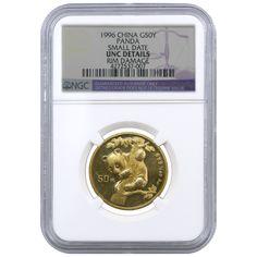 1996 1/2 oz China 50 Yuan Gold Panda NGC UNC Details