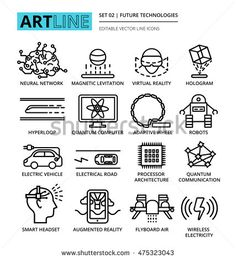 Modern editable vector line icons set of future technologies and innovations…