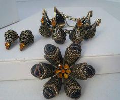 Signed Schiaparelli Mottled Copper Glass Brroch Bracelet Earrings Glamour Set | eBay