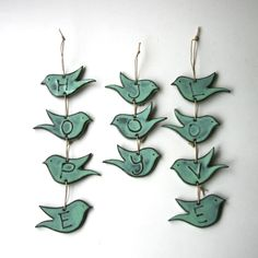 LOVE Bird Wall Hanging French White or Aqua by BackBayPottery, $28.50