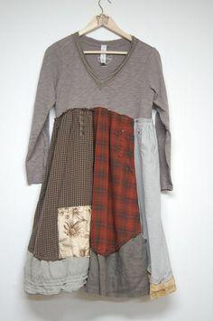 Large Boho Shabby Chic Dress Romantic Cotton by PrimitiveFringe