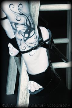 Stool, tattoo, and Heels by *ThruTheAshes on deviantART
