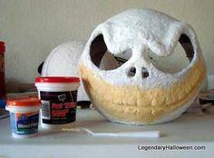 DIY Jack Skeleton Mask instructions (Cheap Hard hat, Punch Balloon, Paper Mache & Ultra Light Spackle)