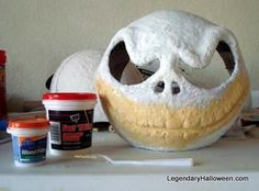DIY Jack Skeleton Mask instructions (Cheap Hard hat, Punch Balloon, Paper Mache & Ultra Light Spackle)