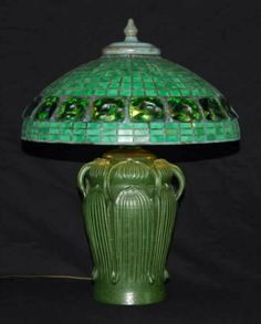 "Century Studios Tiffany Style Turtleback  Shade on an Ephraim Pottery ""7 Handle"" Grueby style lamp (2005)."