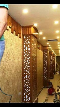 Luxury 42 CNC false ceiling design with LED 2018 - CareDecor Cupboard Design, Wall Design, Pillar Design, Ceiling Design Living Room, Door Design, Interior Columns, Tv Wall Design, Columns Decor, False Ceiling Design