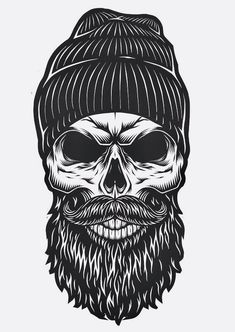 Items similar to Bearded Skull PRINTABLE Wall Art Single Print File Wall Art Printable Skull Black and White printable wall art on Etsy Skull Tattoo Design, Skull Design, Skull Tattoos, Sleeve Tattoos, Tattoo Designs, Tattoo Ideas, Design Design, Tattoo Sketches, Tattoo Drawings