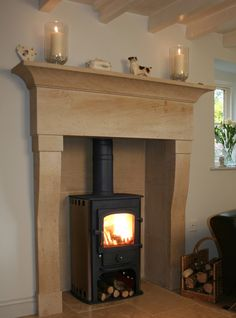 Clearview Solution 400 set in the Stanton Fire Surround in Ancaster Limestone Natural Stone Fireplaces, Fire Surround, Insert, Log Burner, Fireplace Ideas, Wood Burning, Interior Ideas, Natural Stones, Stove