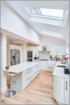 Hive Architects, Manchester Added Velux Roof Windows To This Kitchen pertaining to Kitchen Extension Roof Lights - Mattress & Kitchen Kitchen Decor, House Extensions, Open Plan Kitchen, Kitchen Extension Roof Lights, Home Kitchens, Open Plan Kitchen Living Room, Home, Kitchen Design, Skylight Kitchen