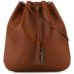 Saint Laurent Jen Flat Bucket Bag featuring polyvore, women's fashion, bags, handbags, shoulder bags, brown, tassel purse, drawstring handbag, yves saint laurent shoulder bag, brown handbags and bucket bag