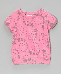 Look what I found on #zulily! Neon Pink Star Sweatshirt - Infant, Toddler & Girls #zulilyfinds