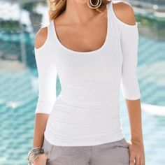 400a1eacc04 Womens Sexy Slim Off Shoulder Casual Long Sleeve Top Off Shoulder T Shirt
