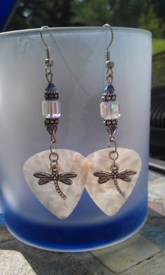 White Dragonfly Guitar Pick Earring by dragonflydesignsbykb, $13.00