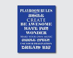 Playroom Rules  Kid's Wall Art  Typography by SusanNewberryDesigns, $15.00