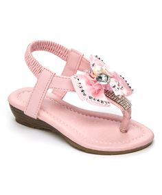 Another great find on #zulily! Pink Gem Bow Sandal by Ameta #zulilyfinds