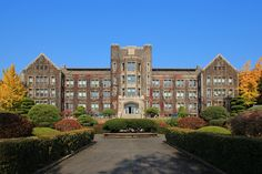 """lovesouthkorea: """" Yonsei University is a private university located in Seoul. Established in it is one of the oldest universities in South Korea, the top private comprehensive universities in South Korea, and is widely regarded as one of the. School Building Design, School Design, Yonsei University, Building Aesthetic, Aesthetic Korea, School Places, Modern Mansion, Kim Jisoo, School Architecture"""