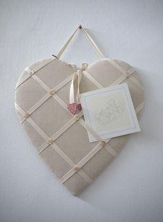 Padded Heart Notice Board via Jam and Jerusalem Jerusalem, Choices, Burlap, Reusable Tote Bags, India, Heart, Products, Goa India, Hessian Fabric