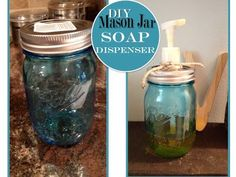 DIY mason jar soap dispenser (she also gives a tutorial on how to make a soap dispenser from just a regular glass food jar!)