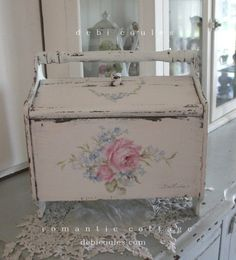 Shabby Chic Roses Vintage Sewing Box - Debi Coules Romantic Art