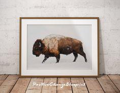 Buffalo wall art Bison print Buffalo print by PositiveChangeArt