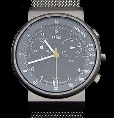 Men's watch Braun AW 70 Chronograph with metal flex-strap executed by Braun / Germany 1995