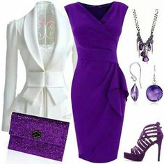 Gorgeous purple dress, white jacket and accessories