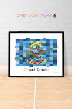 North Dakota Flag Print Poster Wall art North Dakota US State flags ND printable download Home Decor Digital Print gift GreenGreenDreams