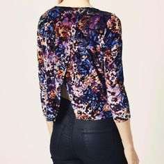 Topshop velvet slit back top Edgy floral velvet design that has a bit of a vintage look with a modern twist. Size small like new! Topshop Tops