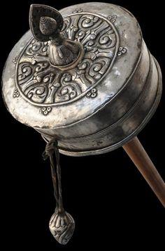 Tibetan Silver Prayer Wheel Khor
