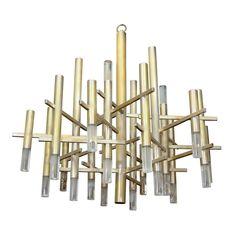 Mid Century Brass and Lucite Chandelier | Sciolari