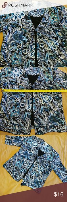 Gorgeous layered blouse full of sparkles 2X Appears like a jacket over a black camisole.   3/4 sleeves.  Sparkles all over. Made of silky soft material that doesn't wrinkle easily-great for travel.  Extra nice used condition Bundle up and save! Dress Barn Tops Blouses