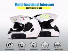 Waterproof  Motorcycle Bluetooth Helmet Intercom Full Duplex Talking with FM gift