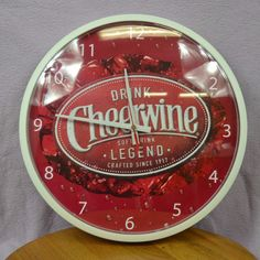 """CHEERWINE Soft Drink Vintage Style 14"""" Wall Clock Battery Operated TESTED #Cheerwine"""