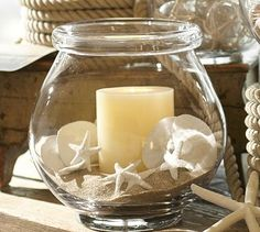 Mini White Starfish Vase Filler #potterybarn  Walmart, you can buy a jar similar to this, buy a pkg of sand & shells and a candle. Voila!