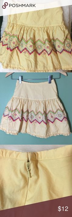 Adorable Talbots Kids Skirt size 10 Girls cotton skirt size 10 by Talbots Kids.  Yellow with embroidery.  Stitching loose a bit in a few areas. Has a lining. Talbots kids Bottoms Skirts