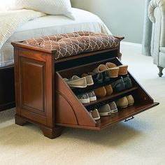Perfect for small spaces, our stylish shoe bench offers convenient shoe storage.Our bench pulls double duty as a shoe organizer and offers a place to sit while…