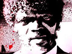 Portrait de Samuel L. Jackson (alias Jules) dans Pulp Fiction  Technique : Encre de chine Outils : Pinceaux et cure-dent Support : Papier coton/bambou  Vidéo de l'évolution ici : https://www.youtube.com/watch?v=IpJzyWQHCuM